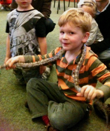 A birthday party with a child holding a snake around his neck